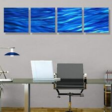 Blue Modern Abstract Painting Metal Wall Art Home Decor Accent - Rolling Waves
