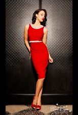 Pinup Couture Dayna Dress in Red & Grey XS Girl Clothing Bengaline RARE perfect
