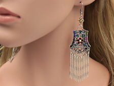 Gipsy tassel mix colors crystal oval rhinestone old silver plated earrings B41