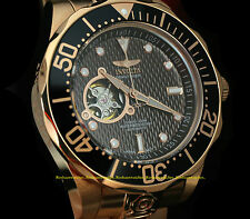 13713 Invicta Mens Grand Diver Automatic Open Heart 18K RG Plated Bracelet Watch