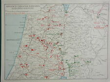 1918 WW1 MAP EGYPTIAN EXPEDITIONARY FORCE ADVANCE SAMARIA TO GALILEE 21 SEPT