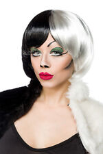 SEXY parrucca BIANCO/NERA Crudelia Demon capelli TRAVESTIMENTO Halloween Cosplay