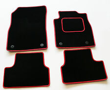 Perfect Fit Black Carpet Car Mats for Nissan Micra 93-02 - Red Leather Trim