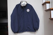Mens size L USA Olympics Sixth Ring Committee Blue Jacket Coat Fleece Lined