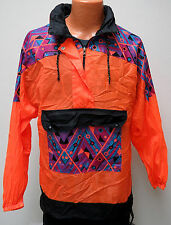 vtg Rodeo BRIGHT ORANGE Jacket TRIBAL M MED 90s Hood Jacket Ski Surf crazy wild