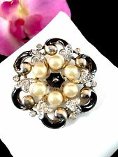 RARE ELEGANT 1940 PHILIPPE CROWN TRIFARI FAUX PEARL EMPRESS EUGENIE SWIRL BROOCH