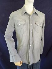 LEVIS Slim Fit light gray denim white pearl snap western cowboy shirt LARGE