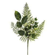 Artificial Fern and Flower Spray - 45cm Length - Green Fern with Cream Flowers