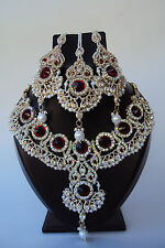 Designer Ethnic Indian Bollywood Maroon Diamente Bridal Jewelry Necklace Set