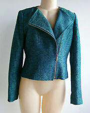 $548.00 Elie Tahari Cropped Moto Tweed Zippered Jacket Sz M