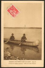 CANADA CARTE POSTALE EVEQUE SUR CANOT BOAT MISSIONNAIRES OBLATS