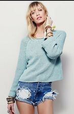 NWT Free People Endless Stories Open Back Crop Sweater Sea Spray S
