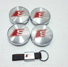 4 x 60mm Audi S Line Wheel Caps With S Line Leather Key Ring Brand New