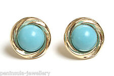 9ct Gold 12mm Turquoise Stud earrings Gift Boxed Made in UK