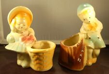 Shawnee Boy and Girl Flower Pots - Cache Pot