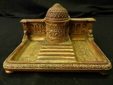 ANTIQUE INKWELL SOLID BRASS/BRONZE INDIA OR IRAN? HEAVILY DETAILED PALACE DESIGN