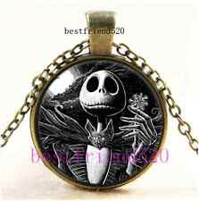 Nightmare Before Christmas Jack Cabochon Glass Bronze Pendant Necklace