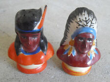 "Vintage Ceramic Indian Chief and Woman Salt Pepper Shakers 2 1/2"" Tall"