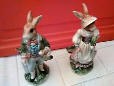 Fitz and Floyd Classic Old World Rabbits Salt and Pepper Shaker Set