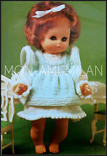 """Knitting Pattern Copy DOLLS CLOTHES DRESS & PINAFORE BABY REBORN 9.5""""-16"""" 4 PLY"""