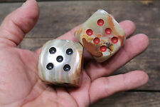"""DICE MARBLED STONE Medieval Role Play RED BLACK PIPS 1 1/2"""" PAIR NEW!"""