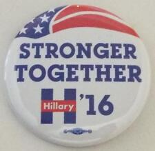 OFFICIAL HILLARY CLINTON FOR PRESIDENT Stronger Together 2016 Campaign Button