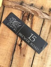 Personalised Engraved Slate Welsh Dragon Address Name House Sign Plaque