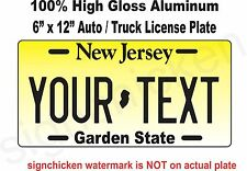 New Jersey Novelty Aluminum State License Plate - CUSTOM, PERSONALIZED AUTO 6X12