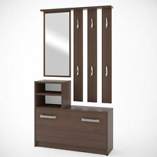 Hallway furniture set - three elements WENGE - hanger, mirror, shoe cabinet