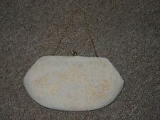 Vintage Mid Century Richere  Japan Ivory Beaded Satin Lined Evening Bag Purse