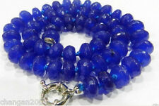 """5x8mm Faceted Blue Sapphire Gemstone Roundel Beads Necklace 18"""""""