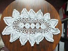 Collectible Beautiful Handmade Crocheted Doily White 17 x 11 Inch NICE