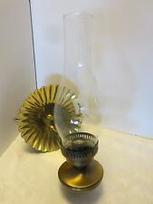 Vintage Metal wall mounted Hurricane sconce Lamp w/Brass Reflector horse etched