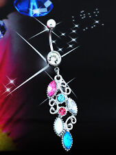 Elegant Lady Reverse Belly Ring Dangle Crystal Navel Bar Body Jewelry Piercing
