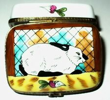 LIMOGES BOX- EASTER - BUNNY IN A CAGE & TURNIPS -RABBIT HUTCH- SHAMROCK - CLOVER