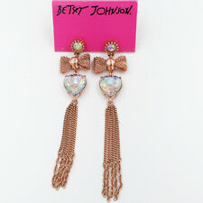 Betsey Johnson bow crystal heart and tassel drop dangle earrings, rose gold tone