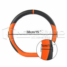 "15""/38cm Car Steering Wheel Cover Non-slip PU Leather Protector M Size Orange"