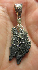 SS Black Kyanite Stone of Revival Crystal Opening Earth Star Chakra Pendant #13