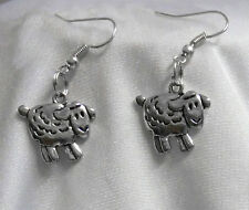 BEAUTIFUL SHEEP / LAMB EARRINGS TIBETAN SILVER DOUBLE SIDED CHARM VERY CUTE