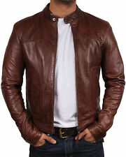 Mens Leather Biker jacket BNWT Leather Bomber Jacket Coat Designer Slim Fit