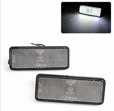 2x White Rectangle LED Reflector Rear Tail Brake Stop Light Third Motorcycle Car