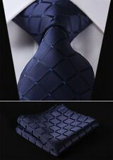 TC442B8 Navy Blue Check Silk Men Tie Necktie Hanky Handkerchief Set