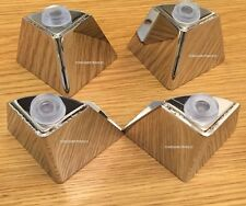 4X CHROME FURNITURE FEET LEGS  PRE DRILLED for SOFAs, BEDS, SETTEE,STOOLS