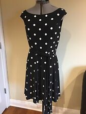 NWT Lauren Ralph Lauren Fit & Flare Polka-Dot-Print Dress Size 6