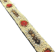 "Light Cream Seed Bead Belt with Coconut, Red Coral & Cowrie Shells, 31.5"" 5cm wd"
