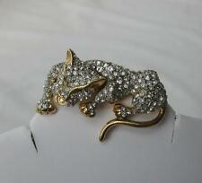 Vintage Leopard Rhinestone Figural Brooch 3-D Character Retro Costume Fantastic!