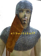 Chain Mail Coif Flat Wedge Riveted Flat Solid Ring Chain Mail Hood