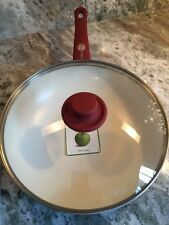 "New GreenPan And Cover 11"" Skillet Frying/Wok Pan Burgundy Red  New"