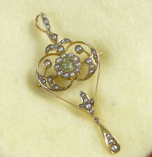 Antique Edwardian 9ct.gold Peridot & seed pearl brooch/pendant - FABULOUS