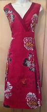Monsoon Red Empire Linen Long Sleeveless Oriental Dress 16 Cruise Holiday Floral